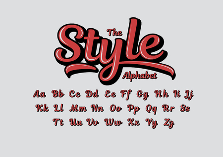 Stylized calligraphic font and alphabet.