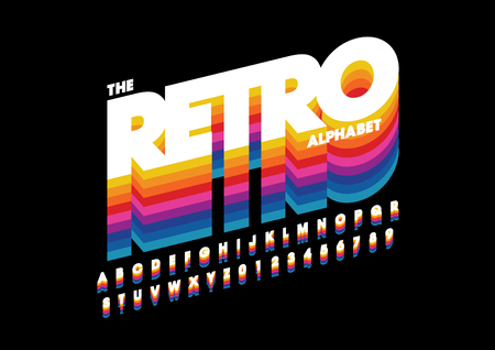 Vector of retro bold font and alphabet vector illustration 向量圖像