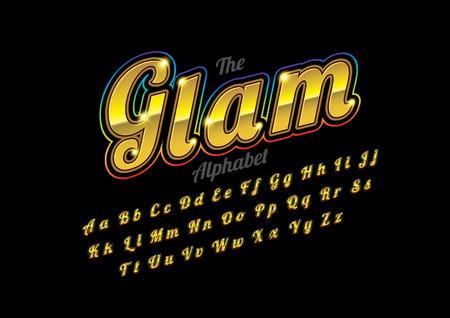 Vector of retro metallic font and alphabet