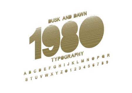 Modern stylized font and alphabet.