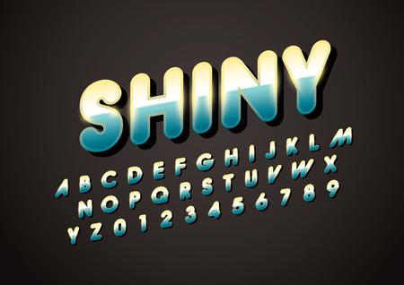 Modern shiny metallic font and alphabet