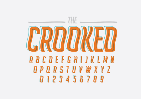 Vector of stylized crooked font and alphabet Illustration