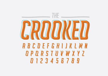 Vector van gestileerde scheve lettertype en alfabet Stock Illustratie