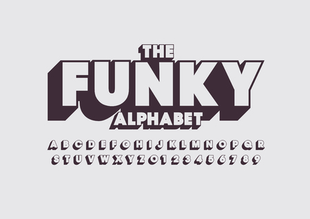 Vector of retro funky  bold font and alphabet Illustration