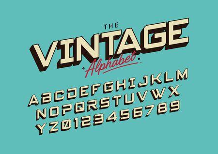 Vector of retro bold font and alphabet illustration.