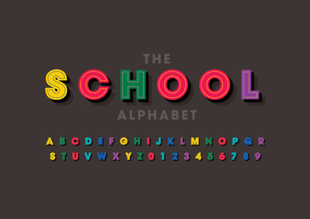 Vector of modern colorful font and alphabet