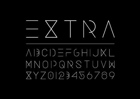 現代の最小フォントとアルファベットのイラストのベクトル。