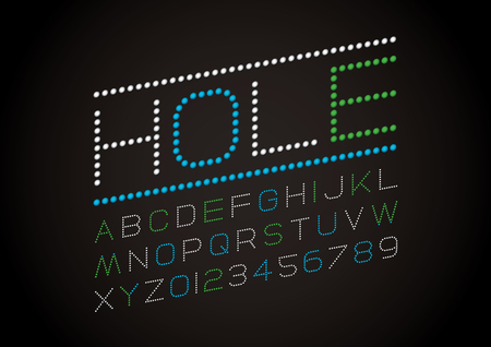Vector of modern perforated font and alphabet
