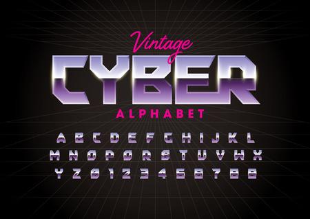 Vector of modern metallic font and alphabet