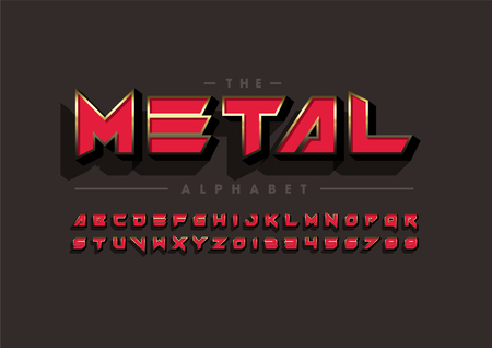 Vector of modern metallic font and alphabeton colored background.