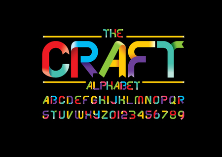 Vector of stylized ribbon font and alphabet