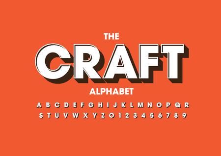 A Vector illustration of modern bold font and alphabet on orange background Ilustrace