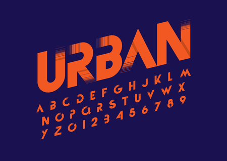 A vector  illustration of modern abstract font and alphabet on a blue background