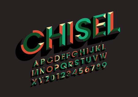 Colorful vector chisel font and alphabet.