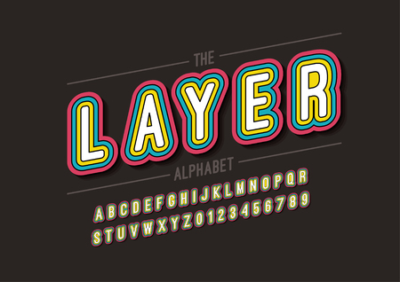 Vector of modern layered font and alphabet