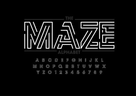 modern abstract font and alphabet 矢量图像