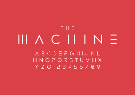 Vector of stylized minimal font and alphabet Illustration