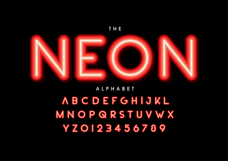 neon word Vector of stylized modern font and alphabet Vetores