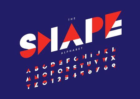 shape text stylized modern font and alphabet Illustration