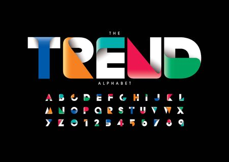 trend text stylized modern font and alphabet