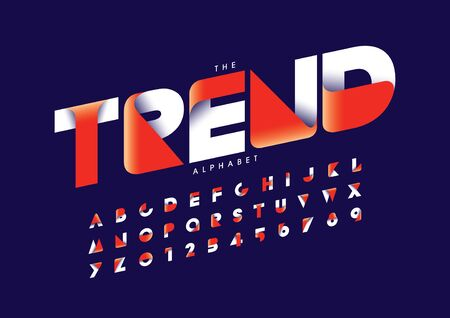 trend text of stylized modern font and alphabet