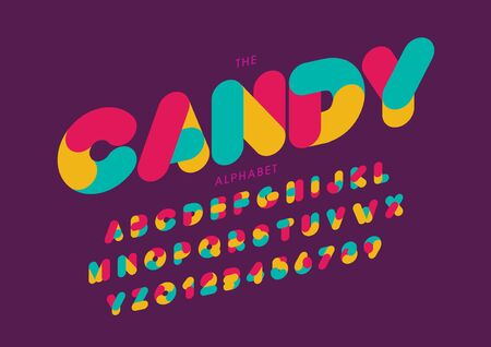 candy text of stylized modern font and alphabet
