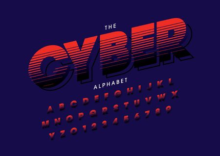 cyber text of stylized modern font and alphabet
