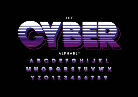 text cyber of stylized modern font and alphabet