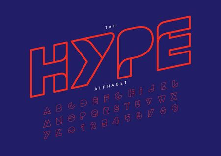 text hype of stylized modern font and alphabet