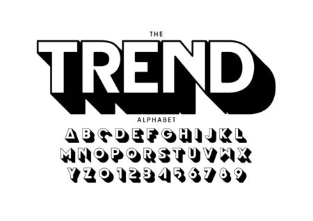 text trend of stylized modern font and alphabet