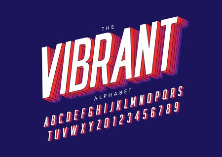 text vibrant of stylized modern font and alphabet