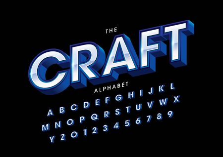 text craft of stylized modern font and alphabet Illustration