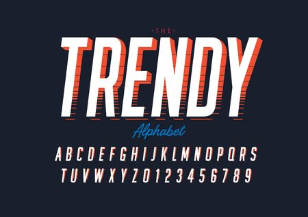 text trendy of stylized modern font and alphabet