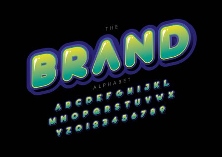 text brand of stylized modern font and alphabet