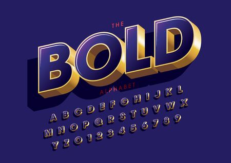 text bold of stylized modern font and alphabet