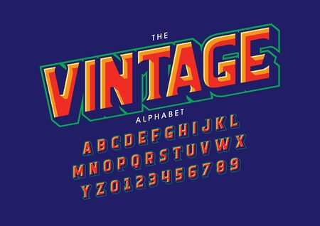text vintage of stylized modern font and alphabet Illustration