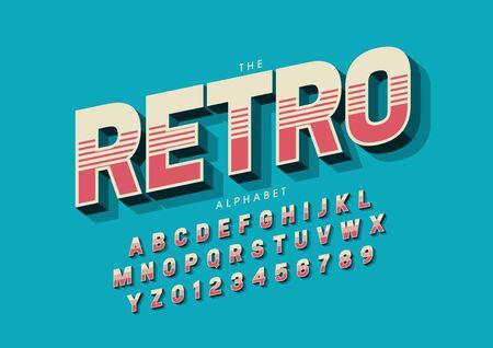 text retro of stylized modern font and alphabet Illustration