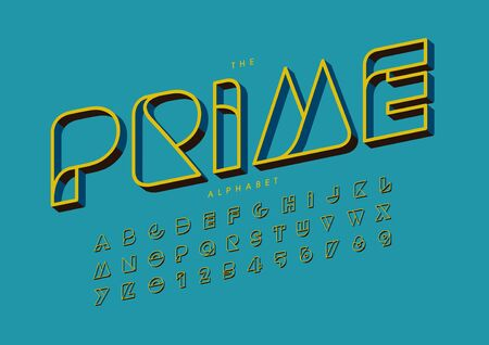prime text of stylized modern font and alphabet
