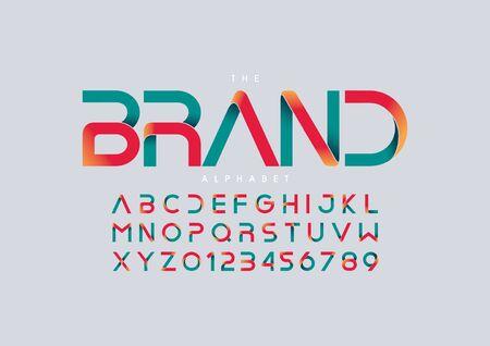 Vector of stylized modern font and alphabet Vektoros illusztráció