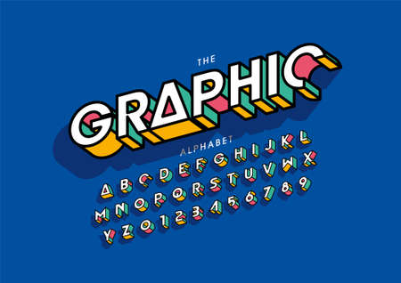 graphic text of stylized modern font and alphabet