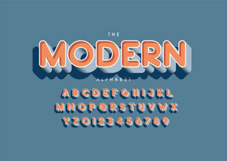 modern text of stylized modern font and alphabet Stock Illustratie