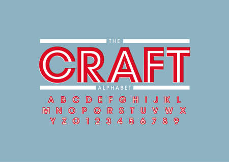 Vector of stylized handcrafted font and alphabet 일러스트