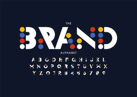 Vector of stylized design font and alphabet