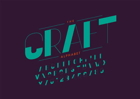 Vector of stylized crafty font and alphabet