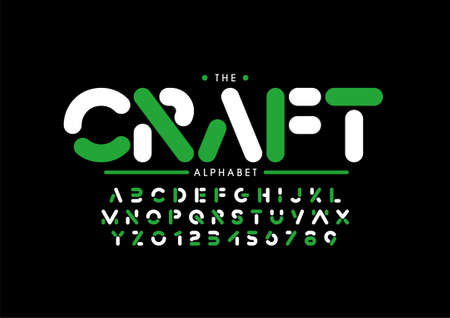 Vector of stylized crafted font and alphabet
