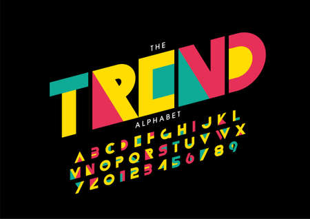 Vector of stylized trendy font and alphabet