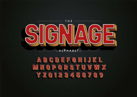 Vector of stylized signage font and alphabet
