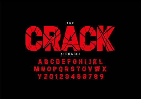 Vector of stylized cracked font and alphabet