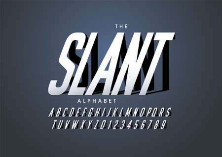 Vector of stylized slanted font and alphabet