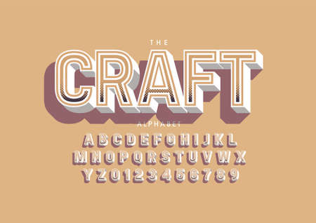 Vector of stylized hand crafted font and alphabet